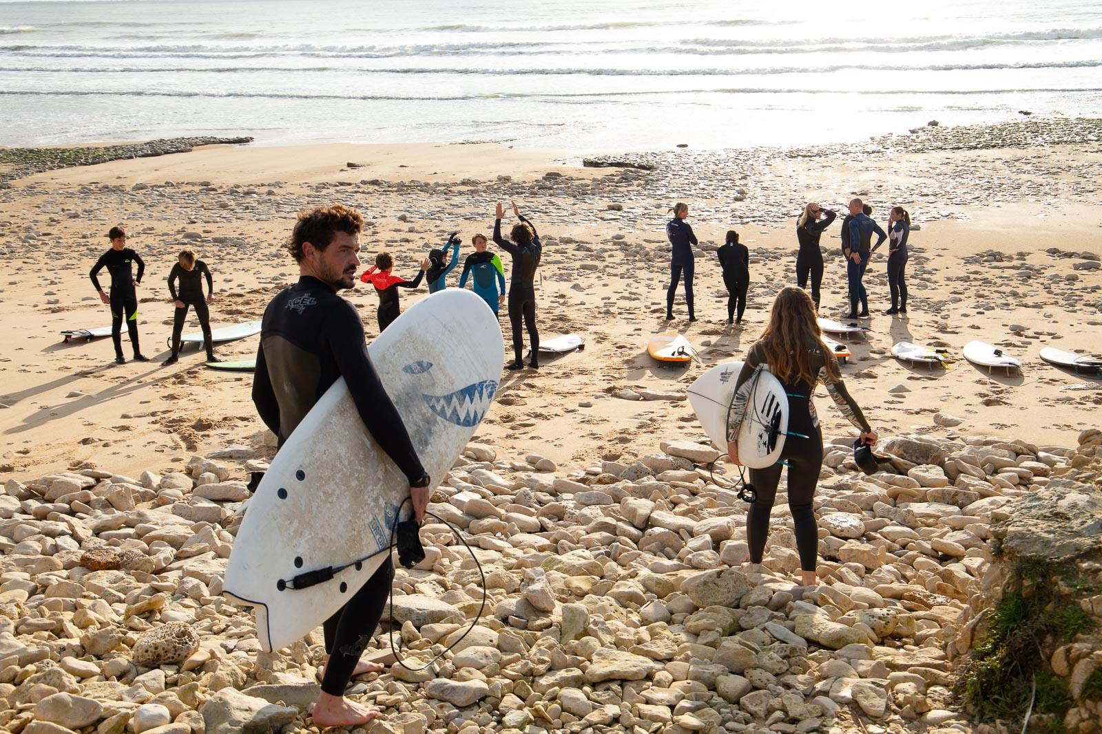 début du cours de surf sur l'ile de ré